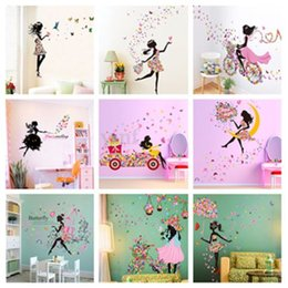 Wholesale  Personality Fairies Girl Butterfly Flowers Art Decal Wall  Stickers For Home Decor DIY Mural Kids Rooms Wall Decoration Cheap Flower Wall  Murals ...
