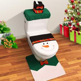 Snowman Butterfly Bow Toilet Seat Cover + Rug Bathroom Set The Toilet Set  Happy Santa Christmas