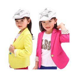 Vente en gros Mode fille blazer causal manteau classique solide blazer veste pour 3-12yrs filles enfant enfants manteau extérieur vêtements vente chaude