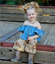 a420d2410f5b Toddlers Summer Cowboy Shirts Fashion Baby Girls Clothes Pullover falbala  Short Sleeve Tops T-shirt Off Shoulder Tees Kids Clothing