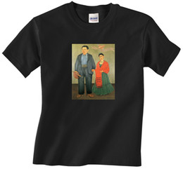 China Frida Kahlo and Diego Rivera Portrait Art - T-shirt for Men - Free Shipping! 100% Cotton Short Sleeve O-Neck Tops Tee Shirts suppliers