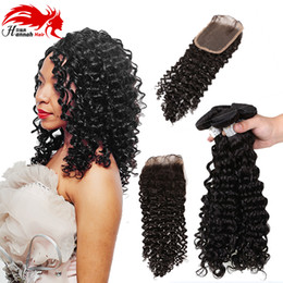 Tissage curly hair online shopping - Hannah Beauty Brazilian Hair Weave Bundles With Closure Deep Curly Tissage Bresilienne Avec Closure Cheap Weave Online