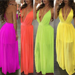 Longue Tenue De Plage Pas Cher-Womens Backless Summer Boho Bohemian Backless Beach Spaghetti sans manches en mousseline de soie Pinafore Long Maxi Dress Sling Dresses Shopping gratuit