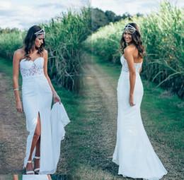 outdoor wedding dress back 2019 - Hot Summer Illusion Bodice Boho Wedding Dresses Chifon Sweetheart Sleeveless Open Back Split Bridal Gowns Outdoor Recept