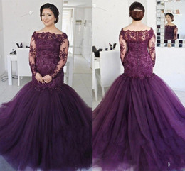 Longues Bouffées De Soirée Pas Cher-Elegant Deep Purple Long Sleeves Mermaid Prom Robes 2018 Off the Shoulder Vintage Lace Sequined Beaded Plus Size Puffy Tulle Evening Gowns