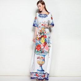 Long Maxi Dresses Ligne Pas Cher-Retro Summer Autumn Dresses 2018 Vase de haute qualité Floral Print Colorful Exquisite A-Line Long Vestido Women