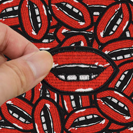 Lips Clothes Canada - Diy patches for clothing iron embroidered patch applique iron on Lips patches sewing accessories badge stickers for clothes bags DZ-069