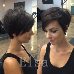 hair hairstyle Canada - Chic Pixie Cut Rihanna Short human hair Wigs Hairstyle none lace machine made Brazilian Virgin Remy cut Hair Wigs for Black Women