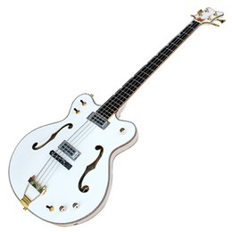 Chinese  High Quality Semi-hollow Electric Bass with White Body and 22 Frets,Gold Hardware,can be Customized manufacturers