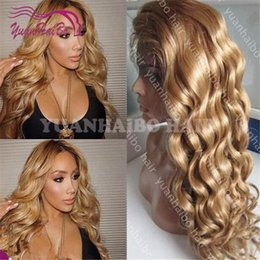 dark brown hair color celebrities Australia - celebrity wig glueless lace front wigs honey blonde color loose wave virgin brazilian hair full lace wig for black woman Free Shipping