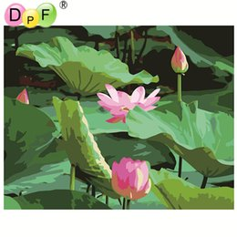 $enCountryForm.capitalKeyWord NZ - DPF lotus Frameless digital oil painting by numbers diy home decoration craft paint unique gift drawing coloring on canvas
