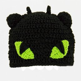 winter beanies UK - Free Shipping Toothless Hat from How to Train Your Dragon,Crochet Black Dragon Baby Boy Girl Beanie Cap,Newborn Cosplay Costume