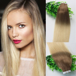 blonde ombre virgin hair NZ - Tape In Human Hair Extensions Ombre Hair Dark Brown 6# Shade To Bleached Blonde 613# 40pcs 100gram Brazilian Remy Hair