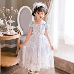 Filles Tutu Bleu Pâle Pas Cher-Vente au détail Été Nouveaux Teenage Girls Sweet Dresses Off The Shoulder Lace Light Blue Princess Party Dress Enfant Vêtements AB7134
