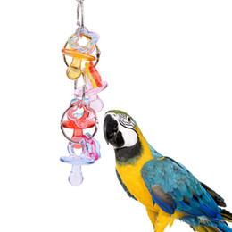 China Cockatiels Acrylic Peck Chewing Parrot Toys Nontoxic Hanging Cage Accessory Parakeets Lovebirds toy suppliers
