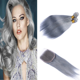 Gray Grey Human Hair NZ - New Arrive Gray Hair Weave Straight Hair Extensions With Closure Sliver Grey Periuvan Human Hair Bundles With Closure For Sale