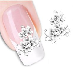 China Wholesale- 1sheets Fashion White Flower Beauty Polish Items Nail Art Decals French Tips Water Transfer Tattoos Stickers Nail Tools STZ-048 supplier french nails white suppliers