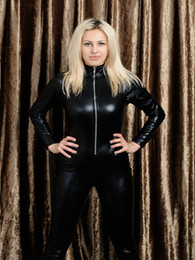 Cat S Collar Canada - Sexy Cat Woman High Collar Bodysuits Black Faux Leather Jumpsuit Gothic Cosplay Catsuit Front Zipper Clubwear