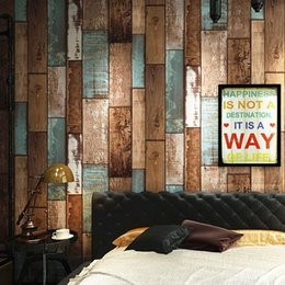 Woods Wall Decor Canada - Retro Wood Board Striped Wallpaper Roll Papel De Parede 3D Wood Grain Clothing Store Restaurant Wall Decor Wallpaper Living Room