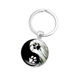 $enCountryForm.capitalKeyWord Canada - Hot! 10pcs Yin Yang Tai Chi Key Chain Animal Footprints Jewelry Handmade Art Glass Pendant KeyChain Silver Key Ring for Women Gifts