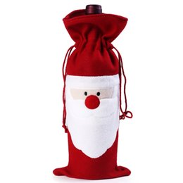 Unique Designs Decorations UK - wholesale arrival X-mas wine bottle packing bag, Unique design Christmas supplies, Santa gift box wine bottle cover 100pcs lot