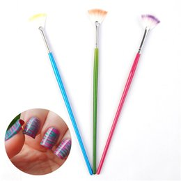 Poudres Acryliques Colorées Aux Ongles Pas Cher-Vente en gros - 1Pc Candy Colored Fan-shaped Design Nail Art Brush Pour Poudre Glitter UV Acrylique Nail Art Manicure Nails DIY Tools # 9804