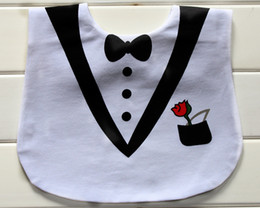 camouflage tuxedos UK - fun tux bib for baby   tuxedo funny art drool bib  superman  10 pcs one lot designs mixed available