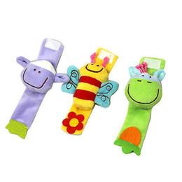 Babies Wrist Rattles Bells Australia - Wholesale- Children Baby Handbell Cartoon Animal Wrist Bells Rattle Playing Developmental Toys