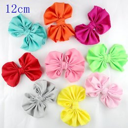 Headbands Bow Australia - 50pcs lot 4.8'' multicolor Boutique Cotton Bows WITHOUT Clips DIY Kids baby girls Hair Bows headbands Hair Styling Accessories