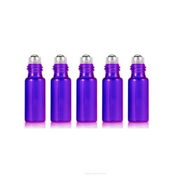 $enCountryForm.capitalKeyWord UK - Purple 5ml 1 6OZ ROLL ON GLASS ESSENTIAL OIL BOTTLE Perfume stainless steel Roller ball fragrance bottle 200pcs free dropper DHL Shipping