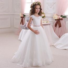 White Communion Dresses Short Australia - White Lace Applique Tulle Flower Girl Dresses Short Sleeves With Sash Girls Pageant Christening Communion Dresses For Wedding