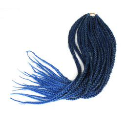 blue synthetic hair UK - CROCHET BRAIDS OMBRE BLUE COLORFUL 3s box braids twist synthetic braiding hair crochet braids hair extensions 24HOURS SERVICE HAVANA TWIST