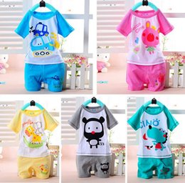 Grils Shirts Canada - Baby Summer Clothes Cartoon Children Clothes for Boys grils Toddler Clothing Set Short Sleeve T Shirts+ Pant hight quality