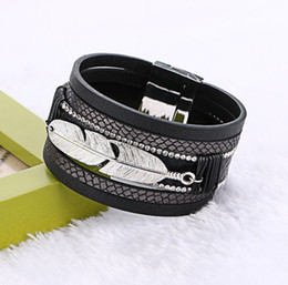 Silver Clasped Leather Bracelets NZ - New Unisex Jewelry Multilayer Wide Bangles Silver Alloy Leaf Zircon Leather Bracelets With Magnetic Clasp Multicolor BB