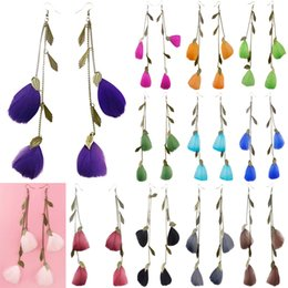 $enCountryForm.capitalKeyWord Canada - Feather Earrings 12 Colors wholesale lots Cute Leaf Charm Chain Light Dangle Eardrop HotB (White Black Gray Brown Purple Army Green) (JF119)