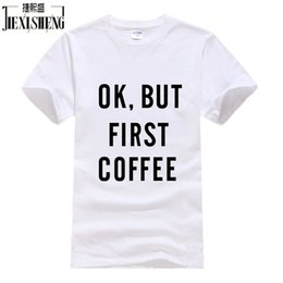Discount ok brand - Wholesale- OK,BUT FIRST COFFEE Letter Printed t-shirt Men Tops & Tees New Brand Design Summer Fashion T Shirt Cotton Plu