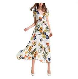 Robe Maxi De Cordon Pas Cher-14 couleurs Jungle Print Robes de plage Bohemian sexy V Neck Drawstring Button Front Robe Maxi femme fête d'été fête Eleagnt longue robe