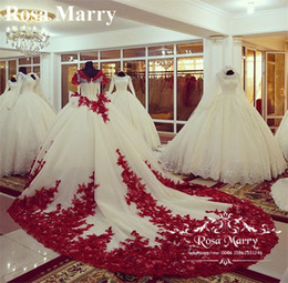 $enCountryForm.capitalKeyWord NZ - Luxury Chapel Train Ball Gown Wedding Dresses 2020 Red Vintage Lace Peplum Short Sleeves Pearl Plus Size Muslim Vestido De Novia Bridal Gown