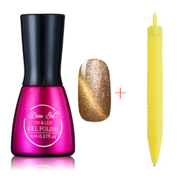 Barato Magnético Mágico Unha Polonês-Atacado- Beau Gel 40 cores Magnetic Cat Eye Gel Polonês Lacquer Manicure 3D Nail Varnish Gel Polish com Magic Cat Pen Set