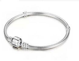 925 3mm Bracelets Canada - Charm Bracelet 925 Sterling Silver Bracelets 3mm Snake Chain Fit Pandora Charm Bead Bangle Bracelet Jewelry Gift For Men Women