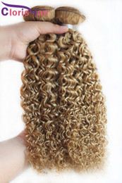 Discount 12 inch brazillian curly hair Brazilian Blonde Curly Hair Extensions Cheap Color 27 Honey Blonde Kinky Curly Brazillian Human Hair Weave Bundles Deals 3Pcs