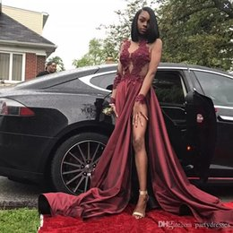 $enCountryForm.capitalKeyWord Australia - Sexy Burgundy Prom Dresses A Line Side Split Sheer Long Sleeves Lace Appliques Evening Gowns African Black Girls Formal Party Dress