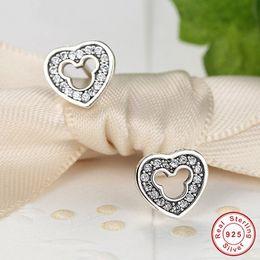 $enCountryForm.capitalKeyWord Australia - 2017 Summer New 925 sterling silver pave CZ Cartoon Heart Stud Earrings for women with Crystal Hearts Earrings European fine jewelry
