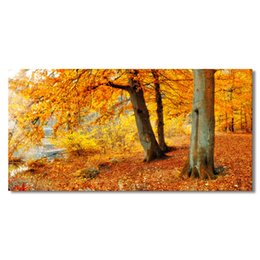 Tree Scenery Paintings UK - Nature Forest Scenery Canvas Art Prints Golden Tree Photo Canvas Giclee Prints Home Wall Art Decor Living Room Decoration