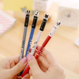Cute Japanese Stationery Wholesale Australia - Wholesale-1pcs Aihao 0.35mm Korean Cute Kawaii Cat Dog Japanese Gel Pens Black Wrting Office School Supplies Stationery For Kids Student