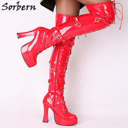 $enCountryForm.capitalKeyWord NZ - Sorbern Wholesale Boots Unisex Halloween Costume Women'S 4.5 Inch Heel Over Knee Thigh High Boot With Hook Lace Up And Side Zipper
