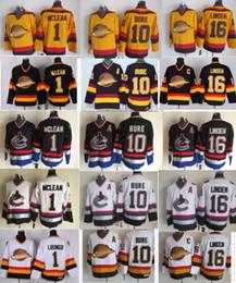 Vancouver Canucks  16 Trevor Linden 1 Kirk Mclean 10 Pavel Bure CCM Vintage  Classic Black White Yellow cheap NHL Stitched Jersey 826616fcb