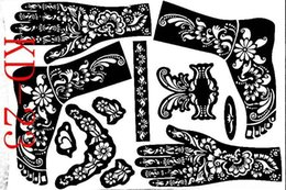 airbrushing stencils UK - Tattoo KD23 Airbrushing Tattoo Painting Henna Body Supplies Mehndi Wholesale-1sheet Professional New Templates Hands feet Kit Stencils Tmng