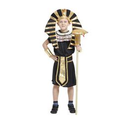 História de Xangai Crianças Egito Faraó Cosplay Traje Menino Halloween Conjunto Completo Cosplay Vestido de Festa para As Crianças