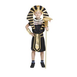 S'habille Complètement Pas Cher-Shanghai Story Kids Egypt Pharaoh cosplay costume Boy Halloween Full Set Cosplay Party Dress pour enfants